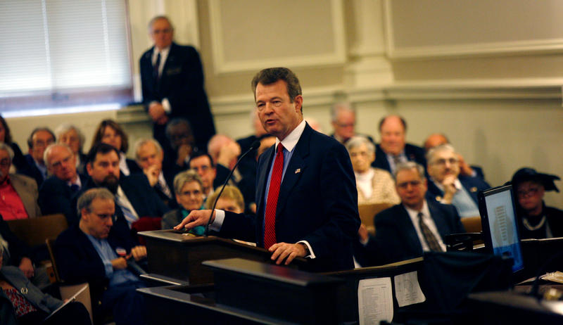 Rep. Dan Eaton speaks on the floor during Organization Day in the New Hampshire House in 2014