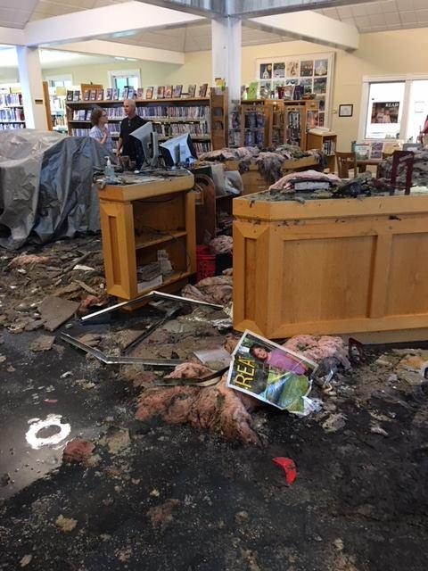 Hopkinton Town Administrator Neal Cass posted a photo of damage to the library on Facebook