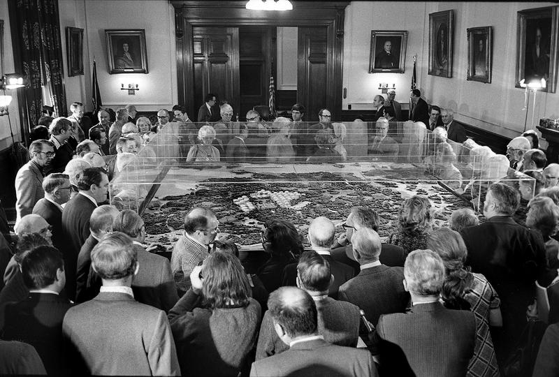 A model of the proposed Olympic Refinery on view at the statehouse in Concord in 1973.
