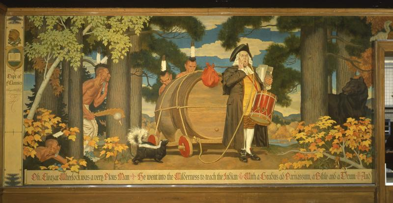 In the first panel of the Hovey Murals, Dartmouth's founder lures some Indians out of the woods for their first taste of alcohol and literature. By the final panel, it's clear they're not equipped to handle either.