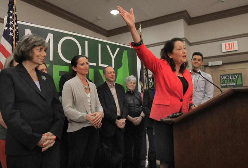 Molly Kelly celebrates her primary win at her campaign headquarters in Keene Tuesday. Kelly will face incumbent Chris Sununu in November.