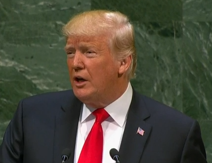 President Donald Trump addressing the United Nations on Sept. 24, 2018.