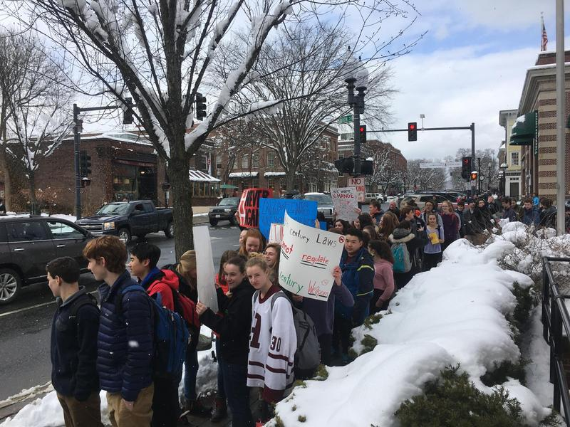 In April, Hanover High School students participated in a walkout as part of a national event to mark the 19th anniversary of the Columbine school shooting.