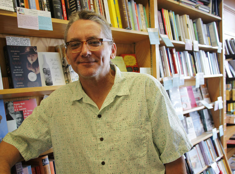 Poet Mark DeCarteret at Water Street Books in Exeter, N.H.