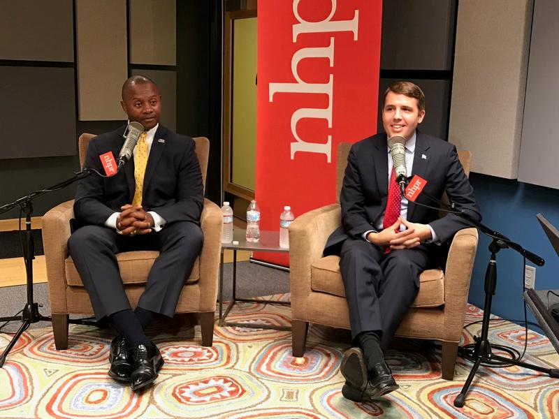 Republican Eddie Edwards and Democrat Chris Pappas, right, during the 1st Congressional District debate on NHPR.