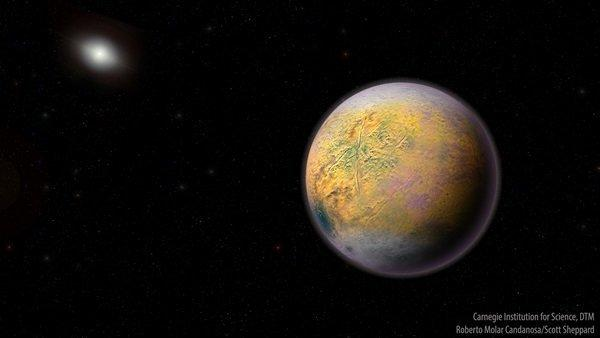 An artist's conception of a distant Solar System Planet Nine, which could be shaping the orbits of smaller extremely distant outer Solar System objects like 2015 TG387  (The Goblin).
