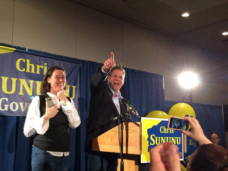Governor Chris Sununu gives his victory speech in Manchester
