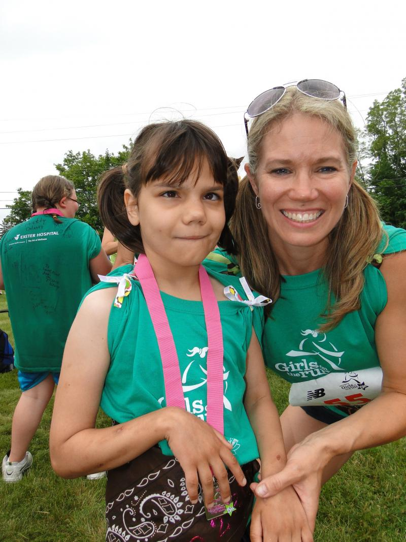 Chloe and Jennifer Bertrand after running a 5k race last spring