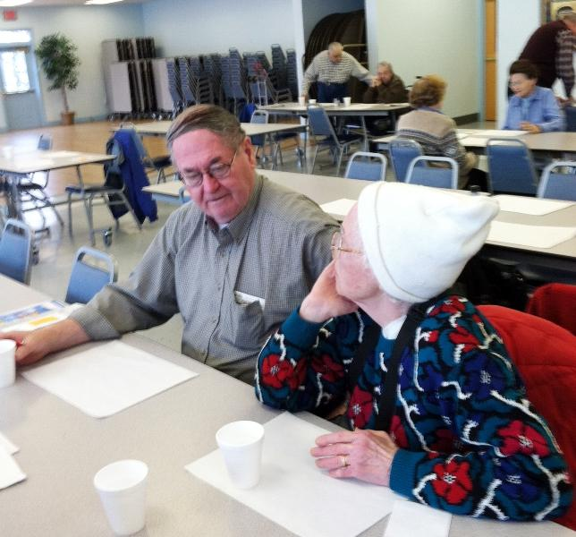 Dave Pierce, 71, and Mary Roberson, 83, at Nashua Senior Activity Center