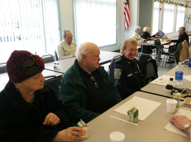 Nashua Police Officer Jane Constant dining with seniors
