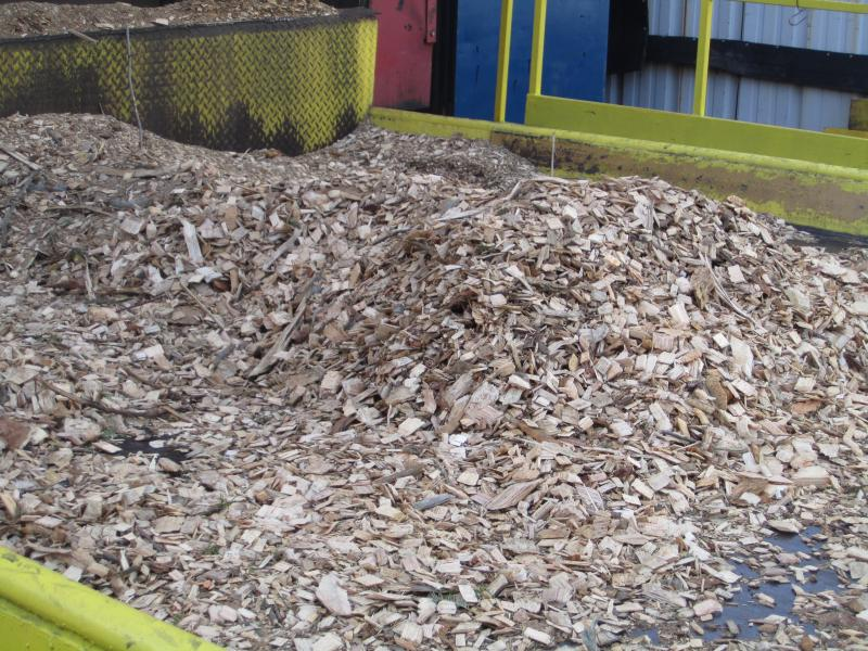 Wood chips sourced from a fifty mile radius around the plants are fed through a series of conveyor belts, that sift the usable material from the waste