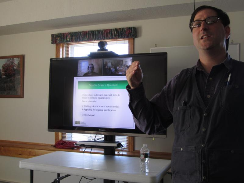 Seth Wilner teaches a cooperative extension class in front of the telecommuting set up