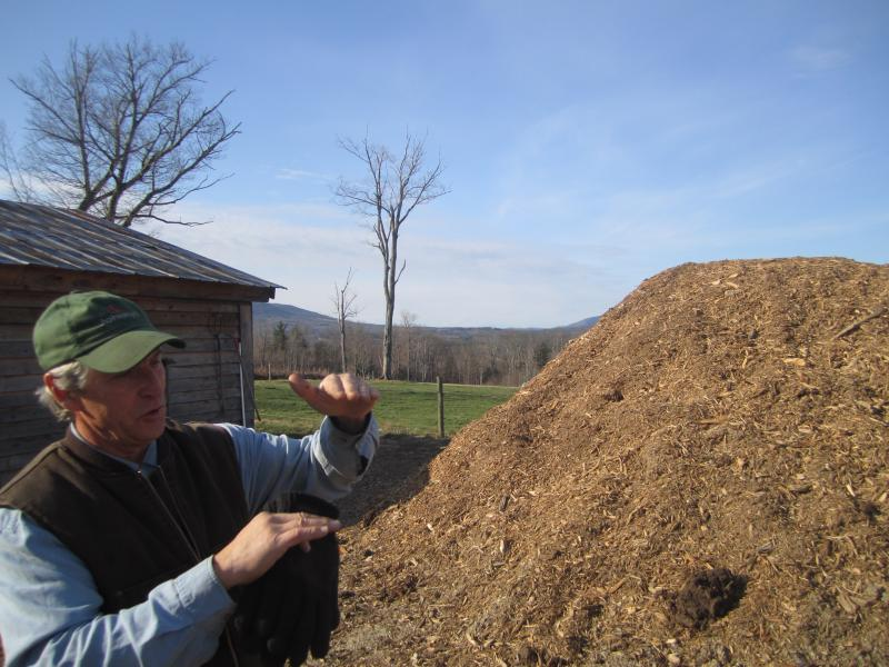 "This pile of wood-chips is heating Letarte's ""cool house"". He explains how he ran layers of water pipes through the pile. As the chips decompose they generate heat."