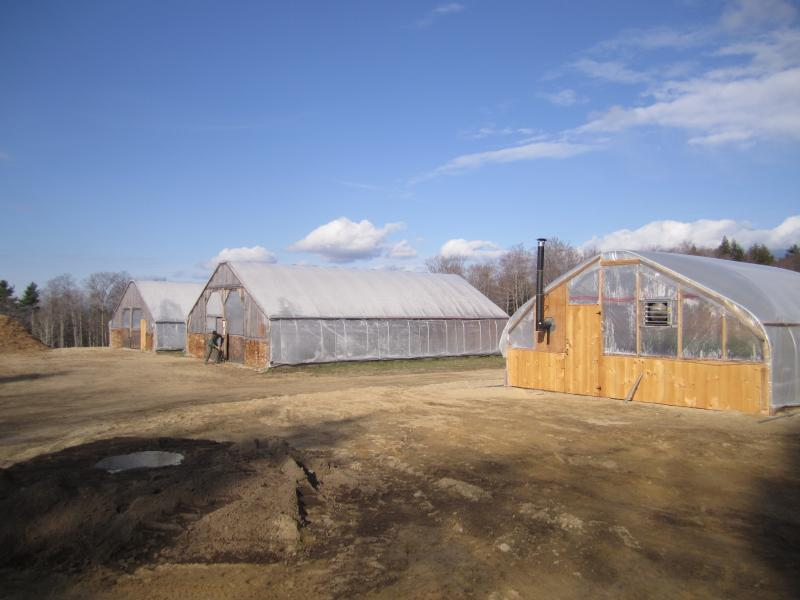 "The three tunnels at White Gates farm are a ""starter house"", a ""cold house"", and a ""cool house."" Letarte heats the ""cool house"" with an experimental composting system."