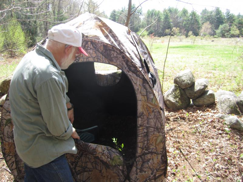 Gagnon shows off his turkey blind.