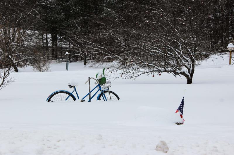 A bicycle waits for spring in Thornton