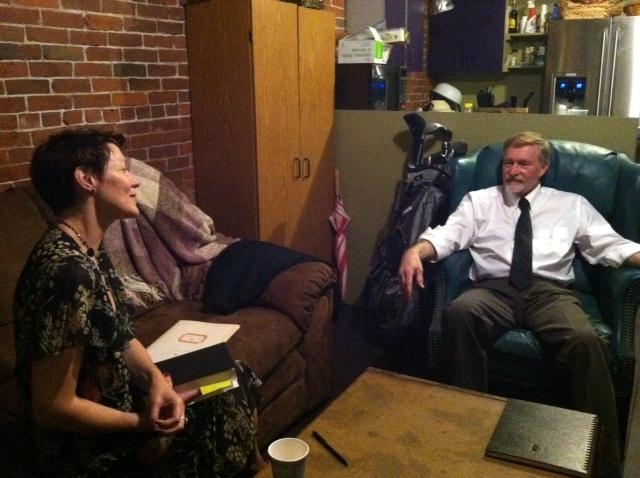 Virginia Prescott and Erik Larson relaxing before WOANES