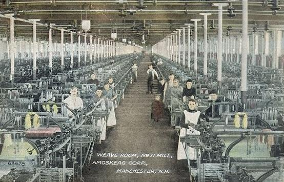 Weave Room, No. 11 Mill, Amoskeag Manufacturing Company, Manchester, NH; from a c. 1910 postcard.