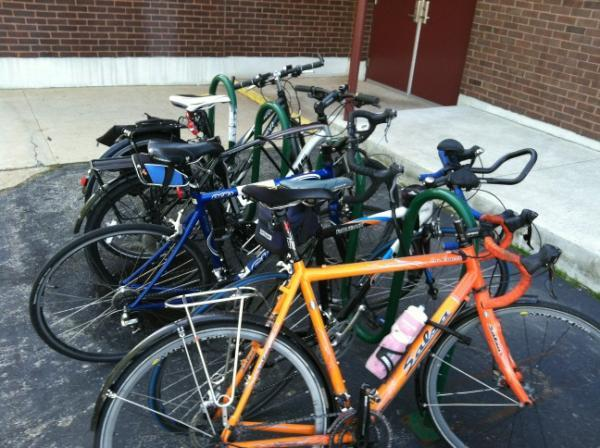 The bike rack outside the NHPR station on 2 Pillsbury St. is full for bike-to-work day.