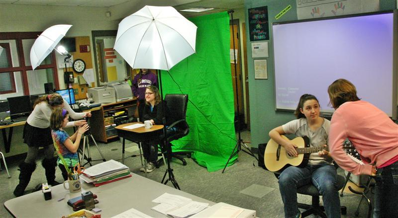 Working on film at the Lisbon Regional High School.