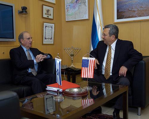 George Mitchell (left) with Israeli Defense Minister Ehud Barak.