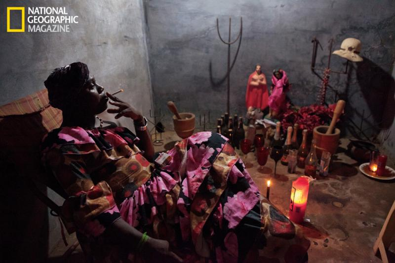 "Terecô priest Pedro de Souza is ""channeling"" a menacing female spirit: A client has hired him to cast spells on her unfaithful husband. Terecô is one of the quilombos' many hybrid religions, interweaving African and Christian beliefs with native practices"