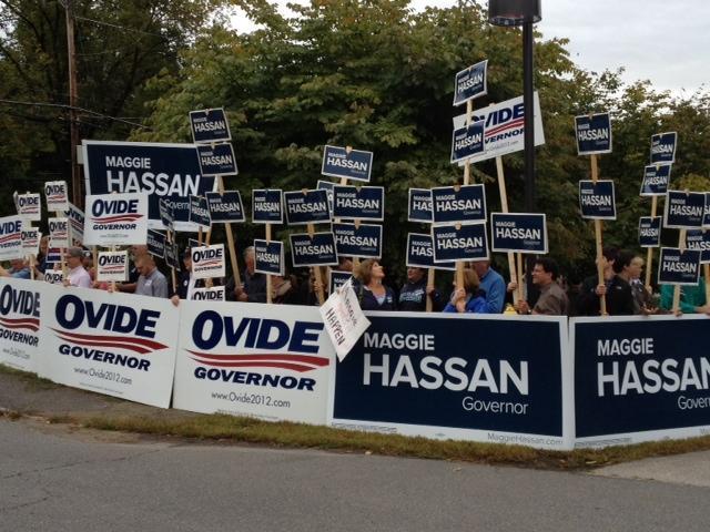 Supporters rally outside of the gubernatorial debate at the NH Institute of Politics at St. Anselm College.