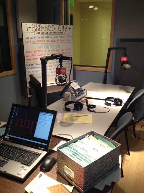 Studio C, where the on-air fundraising magic happens.