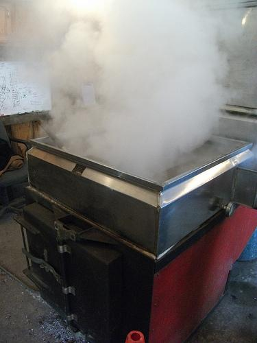 Syrupmaking at Middle Branch Farm in New Boston. Sugarhouses across the state are holding open house events during Maple Weekend - no matter the weather.