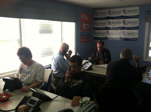 Volunteers make phone calls for Mitt Romney in a field office in Bedford, NH.