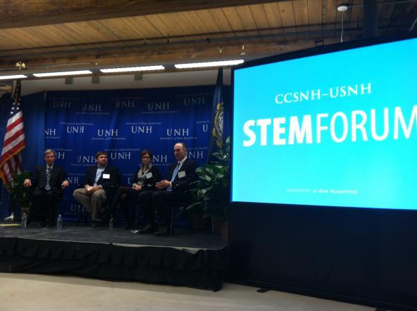 Governor Jon Lynch, Jeremy Hitchcock of DYN, Erica Johnson of UNH's Interoperability Laboratory (IOL), and Joe Morone of Albany International spoke before the STEM Forum