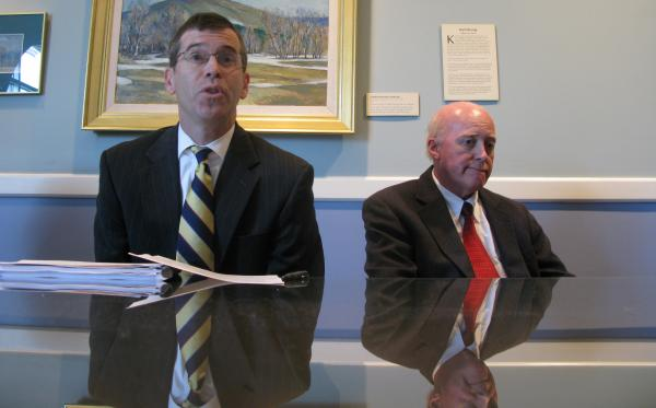 Attorney General Michael Delaney (Left) and Secretary of State Bill Gardner trying to get the word out abou the new voter ID law