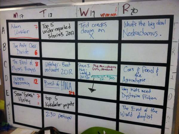 Taylor's Big Board of Ideas and Plans.