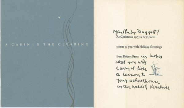Robert Frost's handwritten greeting on his Christmas card to