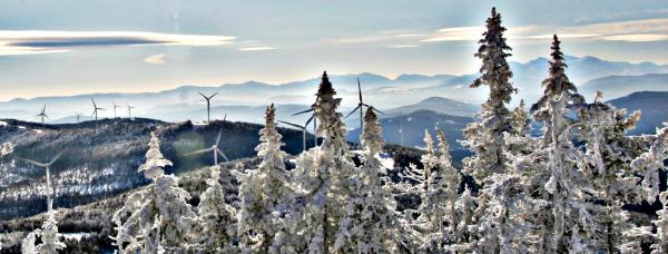Wind turbines seen from Mount Kelsey in Northern Coos County.