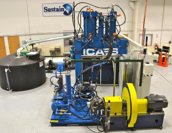 This is SustainX's prototype of a 40 kW compressed air storage system in their facility in Seabrook. This machine has since been cannibalized to create a much larger 2 MW prototype. These machines can be used to smooth demand, either from renewables or for large electric users trying to save some money off peak energy rates.