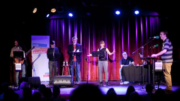 Host Ophira Eisenberg and the Ask Me Another cast at their premiere show in NY.