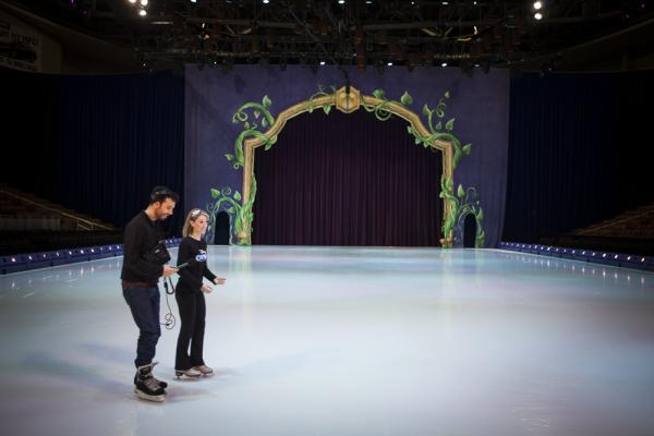 Word of Mouth Associate Producer Zach Nugent skates with Disney On Ice star and New Hampshire native Kaitlyn DeRoy.
