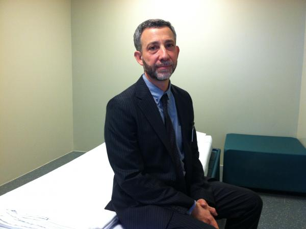 Louis Josephson inside a safe-room at Concord Hospital.
