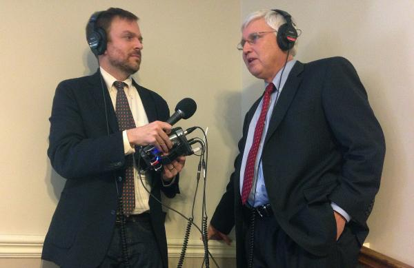 NHPR's Josh Rogers speaks to Senator Chuck Morse after the governor's budget address on Thursday.