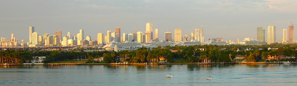 The Miami skyline, as seen from South Beach