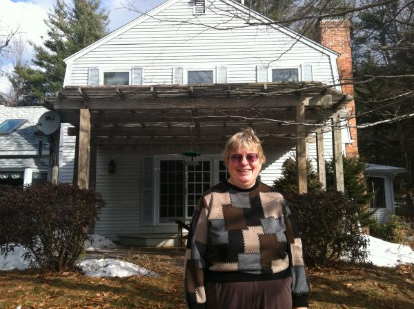 Nancy Chaddock at her home in Hill, NH. Chaddock, who does not own a gun herself, is not bothered by the many gun owners who live around her.