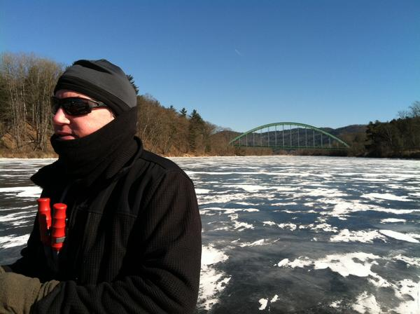 Correspondent Sean Hurley dons a necklace of Ice Claws while out Nordic skating on the Connecticut River.