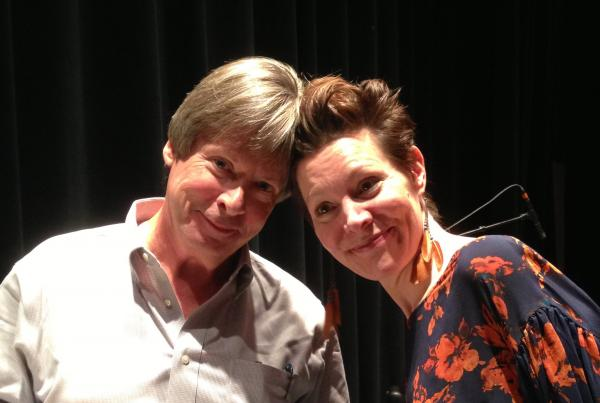 Author Dave Barry and Word of Mouth & Writers on a New England Stage host Virgina Prescott bump heads.