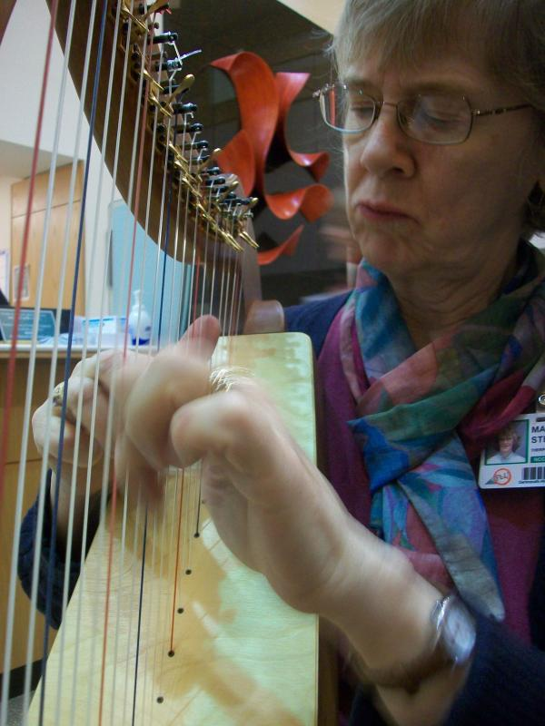 Margaret Stephens plays the harp.