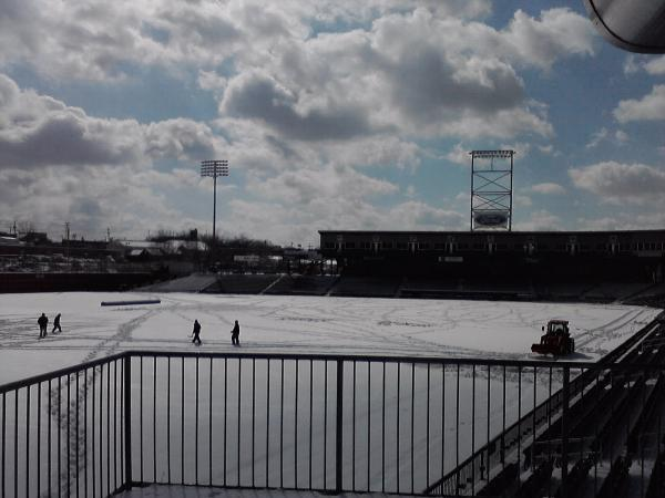 A snow covered field on the first day of spring at MerchantsAuto.com Stadium in Manchester