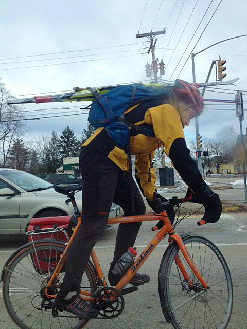 The Evans-Brown Weather Contingency Plan: Reporter Sam Evans-Brown bikes to work - with his cross-country skis.