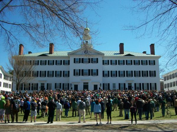 Students gather at Dartmouth College in response to recent hate speech.