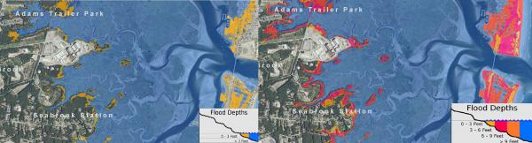 The map on the left roughly represents the flooding that would occur during a 100-year storm event in Seabrook today.The map on the right looks at a similar storm with 5.2 feet of sea level rise, which is at the upper-end of estimates for what's expected by 2100. Note that while Seabrook Station is mostly high and dry, Hampton fares much worse.
