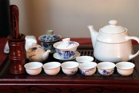 A tea set ready for the Chinese tea tasting at the Confucius Institute at UNH.